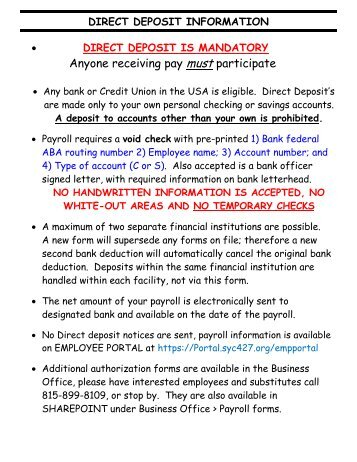 Payroll Services Direct Deposit Authorization Form