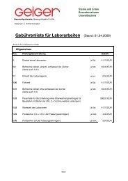 Gebührenliste für Laborarbeiten (Stand: 01.04.2008) - Geiger