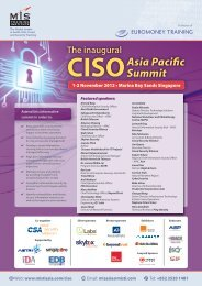The inaugural CISOAsia Pacific Summit - MIS Training - Asia