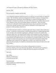 An Important Letter to Prospective Students and Their Parents ...