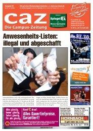 Campus-Zeitung caz, Ausgabe 95 vom 26.10.2009