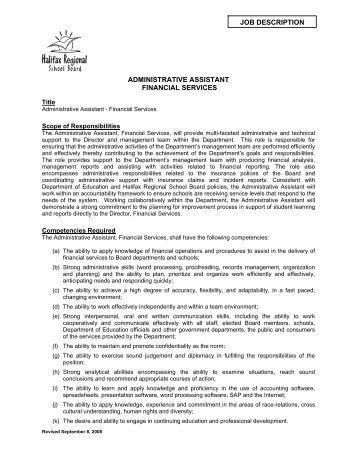 Job Description Administrative Assistant Financial Services   Halifax .  Administrative Assistant Description