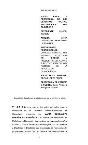 SU-JDC-483/2013 JUICIO PARA LA PROTECCIÓN ... - tjez.gob.mx