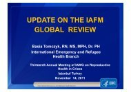 UPDATE ON THE IAFM GLOBAL REVIEW - IAWG