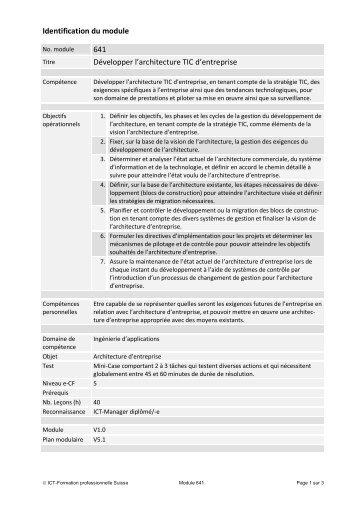 Identification du module 641 Développer l ... - ICT-Berufsbildung
