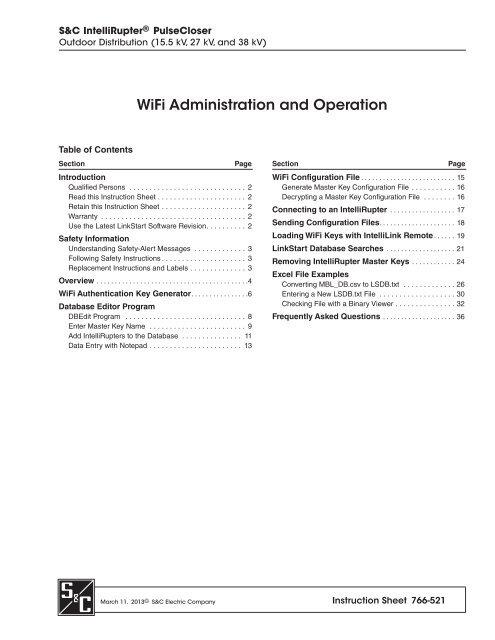 Instruction Sheet 766-521 - S&C Electric Company