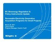 BC Bioenergy Regulation & Policy Instruments ... - LifeSciences BC