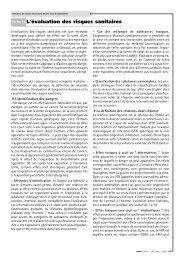 Fiche IX L'évaluation des risques sanitaires - SISTEPACA