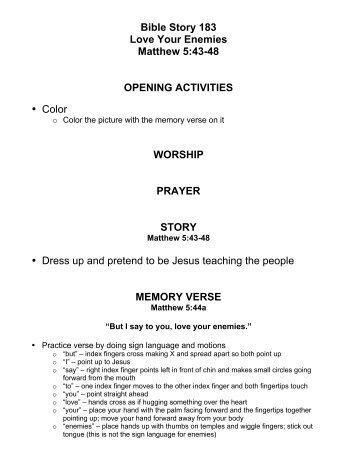 bible story 183 love your enemies matthew 5 43 48 opening
