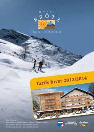 Forfaits Hiver 2013/2014 - Hotel Brötz
