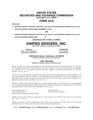 1st Quarter Fiscal 2013 ended December 29, 2012 - Unified Grocers