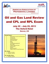 Oil and Gas Land Review and CPL and RPL Exam - American ...
