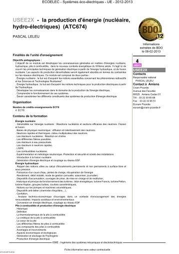 USEE2X - la production d'énergie (nucléaire, hydro ... - Cnam