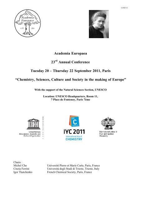 Thursday 22 September 2011, Paris - Academia Europaea