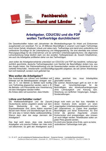 Arbeitgeber, CDU/CSU und die FDP wollen ... - Personalrat