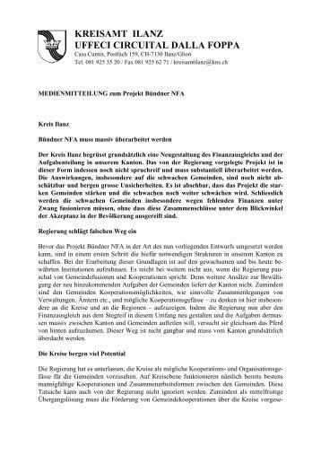 Stellungnahme NFA Medienmitteilung - Kreis Ilanz