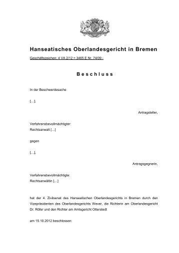 4 VA 2/12 (pdf, 54 kB) - Hanseatisches Oberlandesgericht Bremen