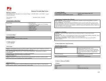 Malzeme Güvenlik Bilgi Formu KIZAK YAĞI D - Petrol Ofisi