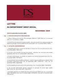 lettre du departement droit social novembre 2009 - DS Avocats