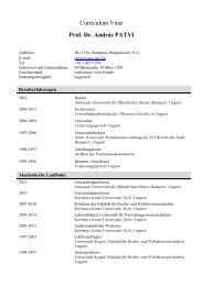 Curriculum Vitae Prof. Dr. András PATYI