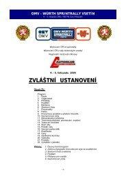 Zvláštní ustanovení - MČR ve sprintrally - partr rally vsetín 2012