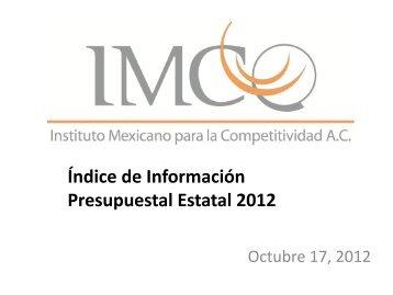Índice de Información Presupuestal Estatal 2012