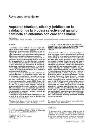Aspectos técnicos, éticos y jurídicos en la validación de la biopsia ...