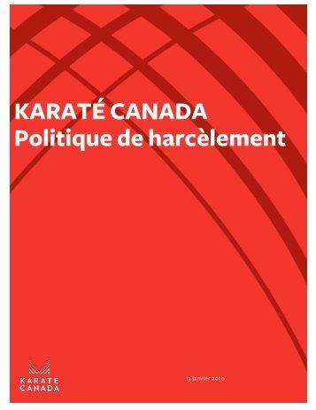 KARATÉ CANADA Politique de harcèlement - Karate Canada