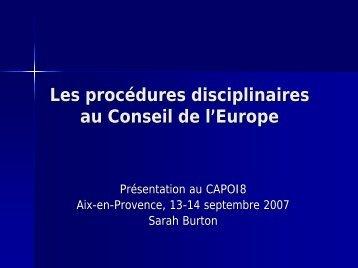 Les procédures disciplinaires au Conseil de l'Europe
