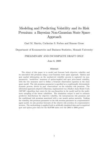 Modeling and Predicting Volatility and its Risk Premium: a Bayesian ...