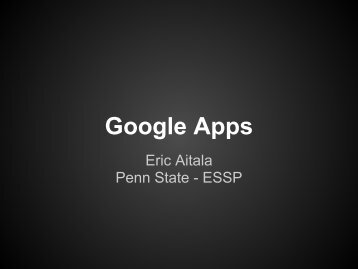 Introduction to Google Apps - PAESTA