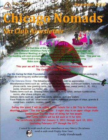 December Newsletter - Chicago Nomads Ski Club