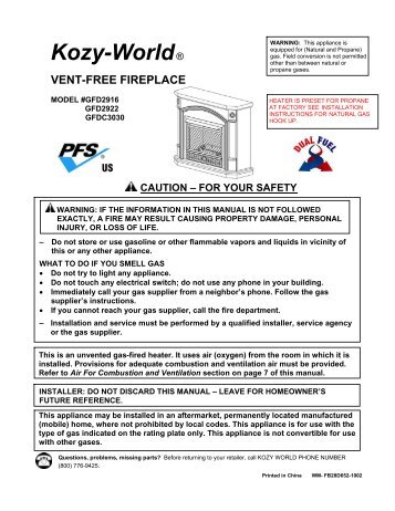 Propane(LP)/Natural Gas(NG) Fireplace - World Marketing of ...