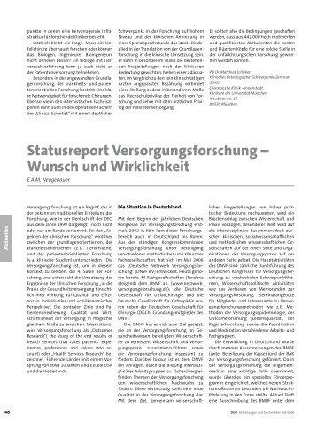 Statusreport Versorgungsforschung – Wunsch und Wirklichkeit