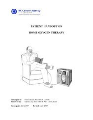 patient handout on home oxygen therapy - BC Cancer Agency