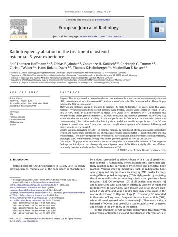 European Journal of Radiology Radiofrequency ablation in the ...