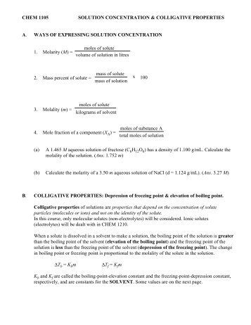 Colligative Properties Worksheet