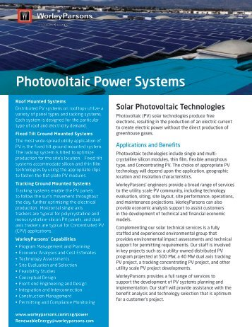 Photovoltaic Power Systems - WorleyParsons.com