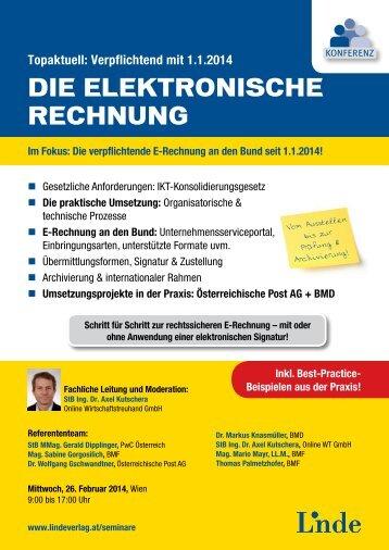 Konferenz Die elektronische Rechnung - Linde Verlag