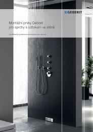 Montážní prvky Geberit pro sprchy s odtokem ve stěně