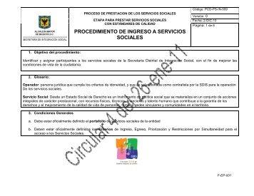 procedimiento de ingreso a servicios sociales - Página principal