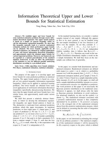 Information Theoretical Upper and Lower Bounds for Statistical ...