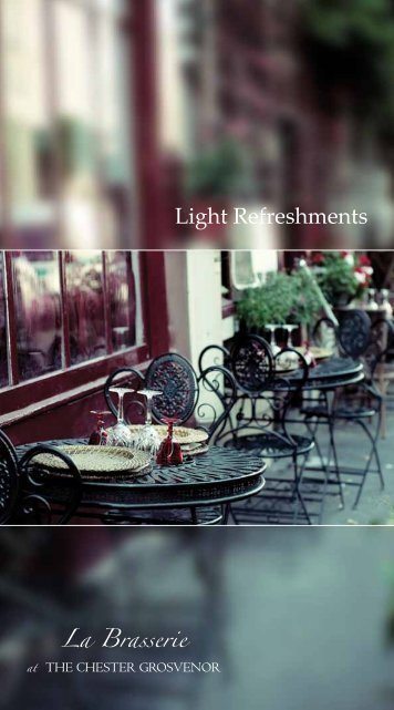 Sample Light Refreshments Menu - The Chester Grosvenor