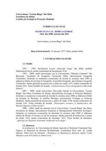 CV Horea Olosutean - USAMV Cluj-Napoca