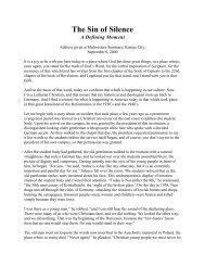 The Sin of Silence - Our Savior Lutheran Church