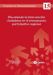Cuaderno Descentralista # 15 - Grupo Propuesta Ciudadana