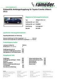 Einbauhilfe Anhängerkupplung für Toyota Corolla Liftback (E11)