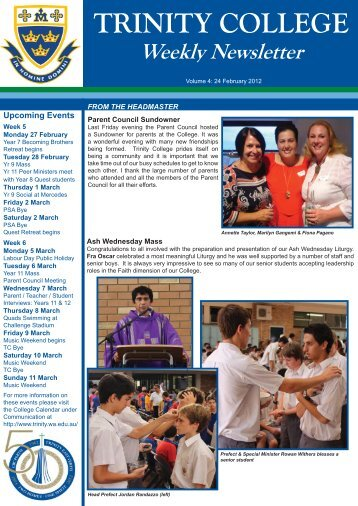 TRINITY COLLEGE Weekly  Newsletter