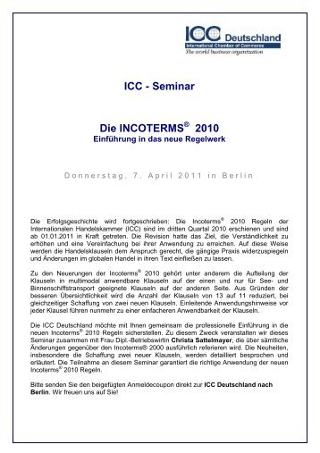 ICC - Seminar Die INCOTERMS 2010 - ICC Deutschland