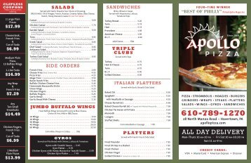 Apollo NE JMB Menu - Apollo Pizza